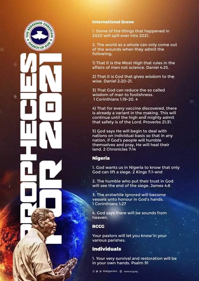 Pastor EA Adeboye Prophecies for 2021