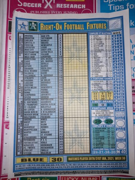 week 30 right on fixtures 2021 front page