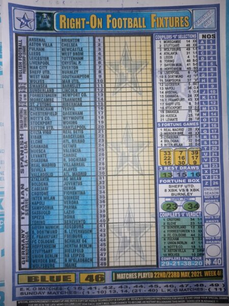 week 46 right on fixtures 2021 front page
