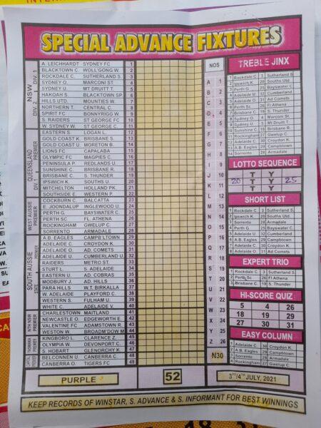 week 52 special advance fixtures 2021