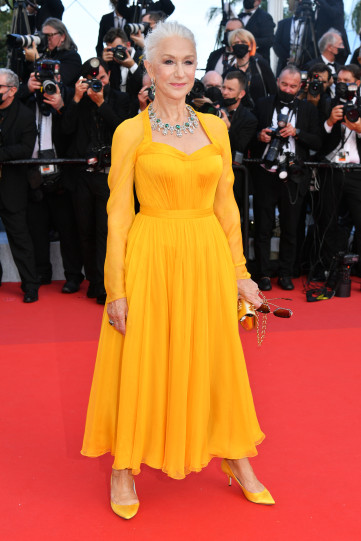 Helen Mirren at the Annette screening and opening ceremony of the 74th annual Cannes Film Festival on July 6.
